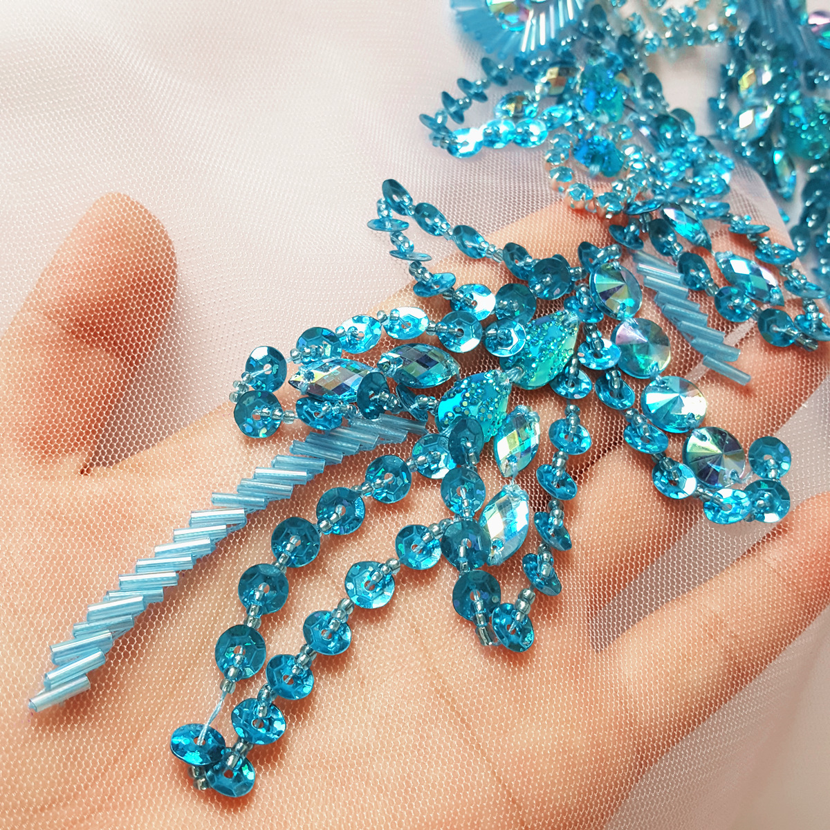 Baby Blue Goddess 29x39cm Patches Applique Beaded Rhinestones For Sewing  Clothing Evening Wedding Dress decorative Accessories -in Patches from Home  ... 9c6369efbed8