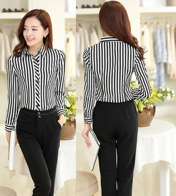 Nova chegada de moda listrado 2015 fino outono inverno de calças ternos com blusas OL conjunto desgaste do trabalho