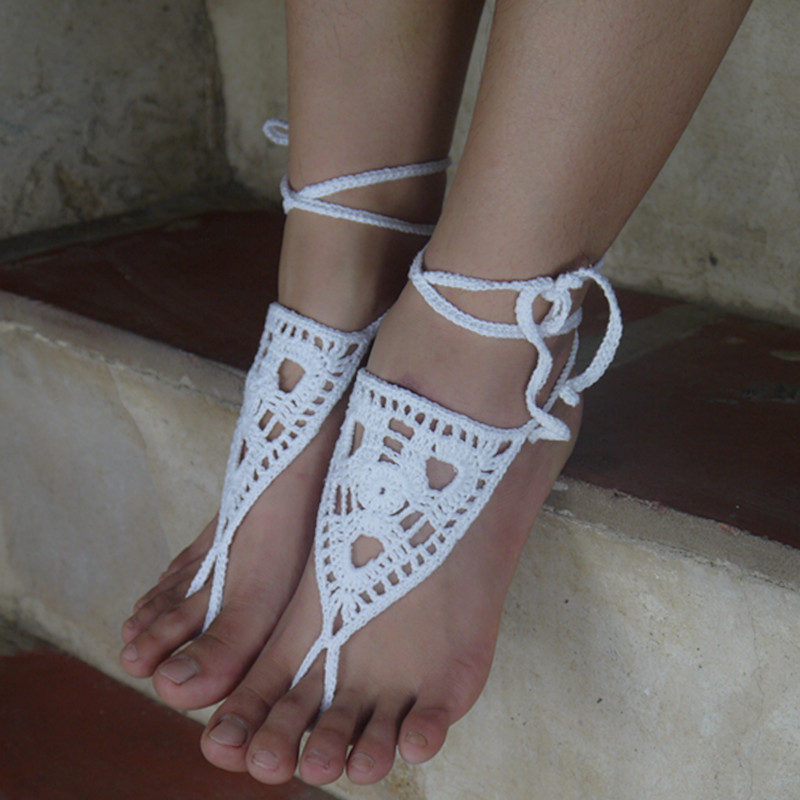 00b6a7c35914f2 Ankle Bracelet Pulseras Tobilleras Flower wide band Crochet Barefoot  Sandals Etsy Handmade Jewellery-in Anklets from Jewelry   Accessories on  Aliexpress.com ...