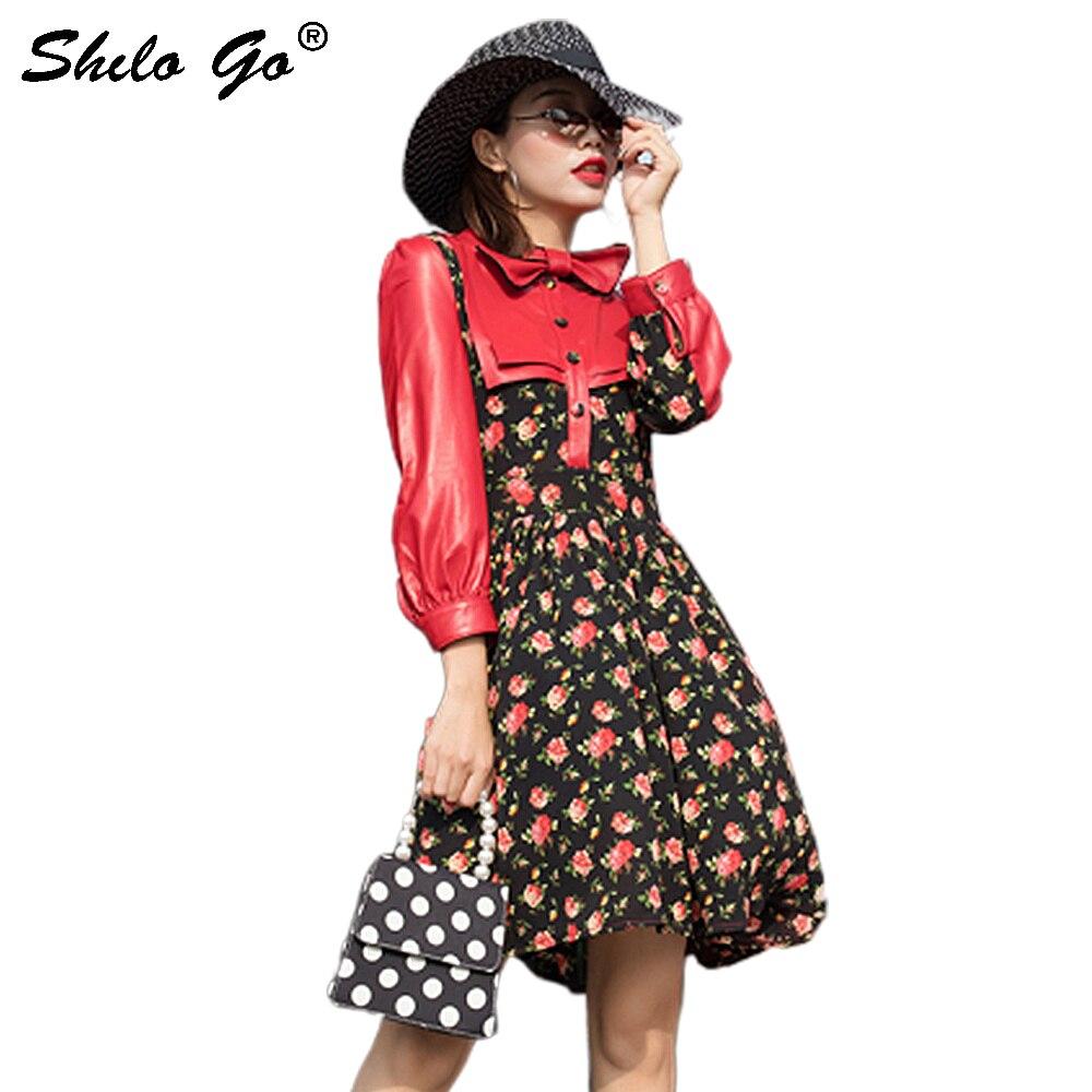 Уличная кожаная женская одежда с бантом и цветочным принтом, шифоновое платье из натуральной овечьей кожи, винтажное женское платье