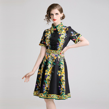 Fashion Printed Womans Mid Dress Turn-down Collar Female Slim A-line Floral Print Summer New OL Knee-length Dresses