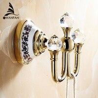 Free Shipping Crystal Robe Hook Clothes Hook Brass Chrome Finish Bathroom Hardware Robe Hooks Bathroom