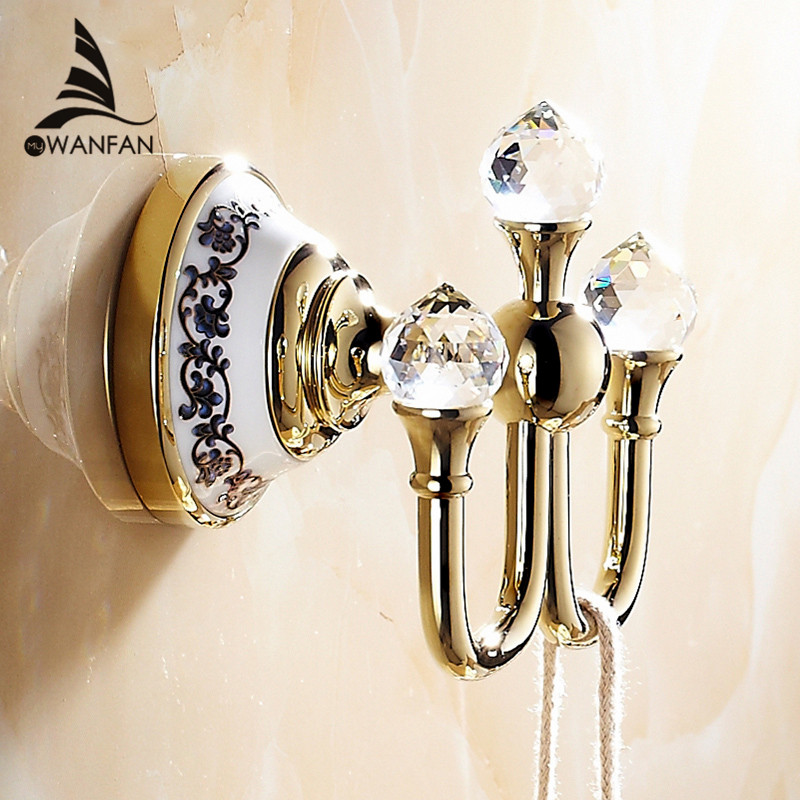 crystal robe hookclothes hook brass chrome finishelegant bathroom hardware robe hooksbathroom accessories free shipping 6306