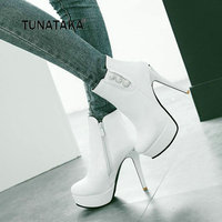 Winter Sexy Thin High Heel With Side Zipper Ankle Boots Fashion Comfortable Flatform Women Shoes Black Red White