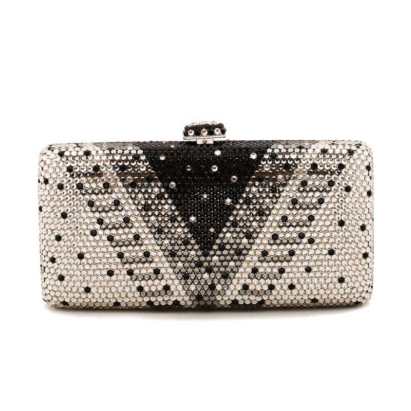 Factory Directly Wholesale V Shape Crystal Rhinestone Diamond Evening Purse Evening Clutch Boxed Evening Bag and Clutches aidocrystal heart shape factory direct sell fashion woman diamond clutch for lady