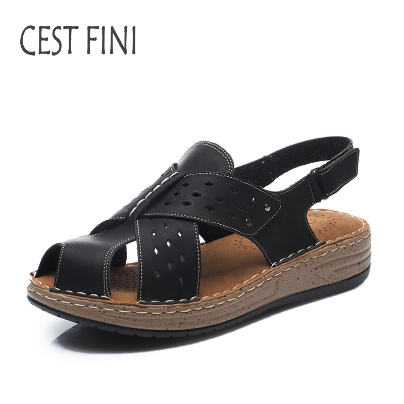 CESTFINI Summer Sandals Women Leather Casual Shoes Women Soft And Comfortable Sandals Handmade #SA007 folding tv screen magnifier 3dpt maxtv binocular glasses magnifying glasses for far sighted presbyopia people