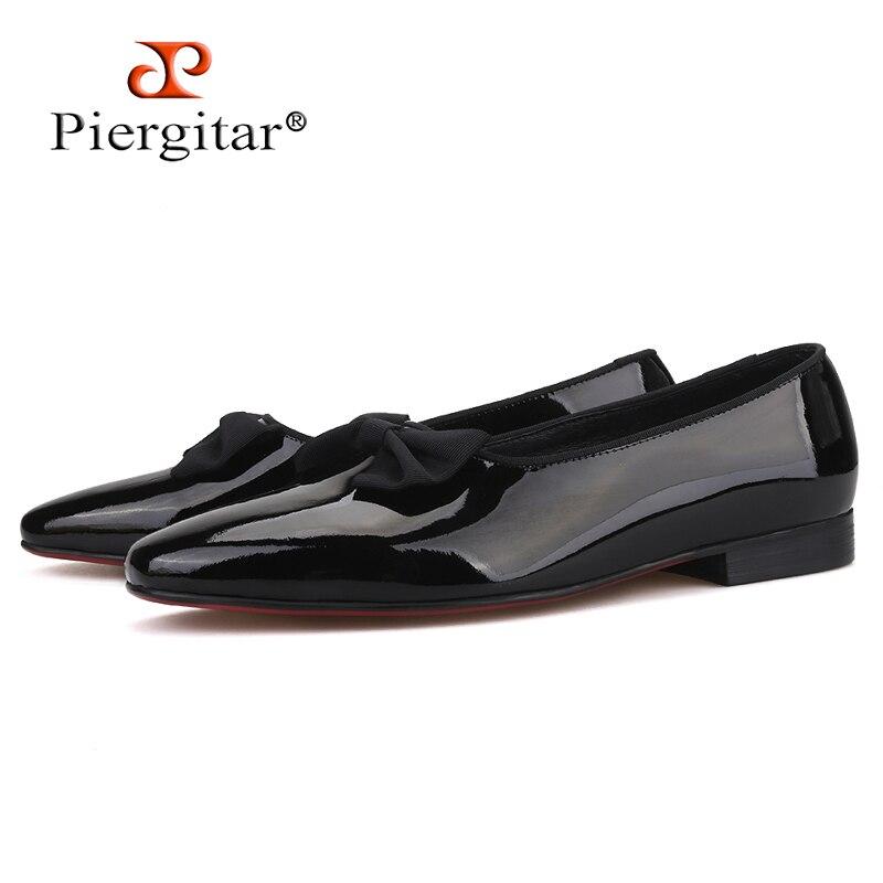 Piergitar 2019 ręcznie robione męskie obuwie skórzane z nowy łuk knot moda mężczyźni mokasyny czerwone dno męskie buty w stylu casual plus rozmiar w Męskie nieformalne buty od Buty na  Grupa 1
