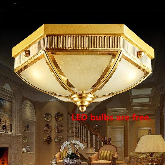 European Luxry Ceiling Lamp Copper Home Bedroom Living Room Ceiling Light Fixture Indoor Luminarias Para Sala E27 Luminaria Teto