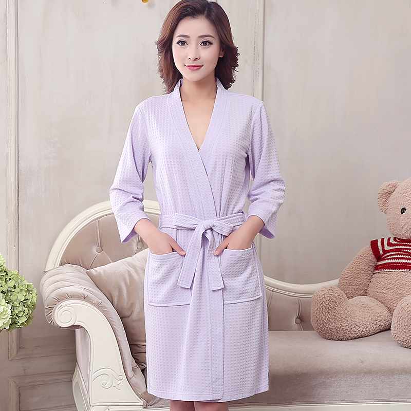 7e83cb6e48 Detail Feedback Questions about New Women Men Waffle Bathrobe Three Quarter  Sleeve Kimono Bath Robe Plus Size Bridesmaid Robes Sexy Wedding Dressing  Gown on ...