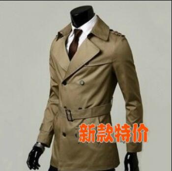 Fashion autumn slim teenage medium-long trench coat men outerwear mens double breasted trench coat casual plus size S - 9XL