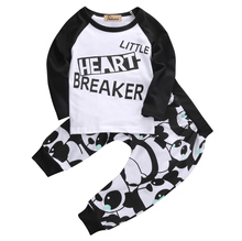 pudcoco Newest Arrivals Hot Infant Newborn Toddler Boy Girls Outfits Fashion Casual T-Shirt Top Long Pants Panda Clothes Set