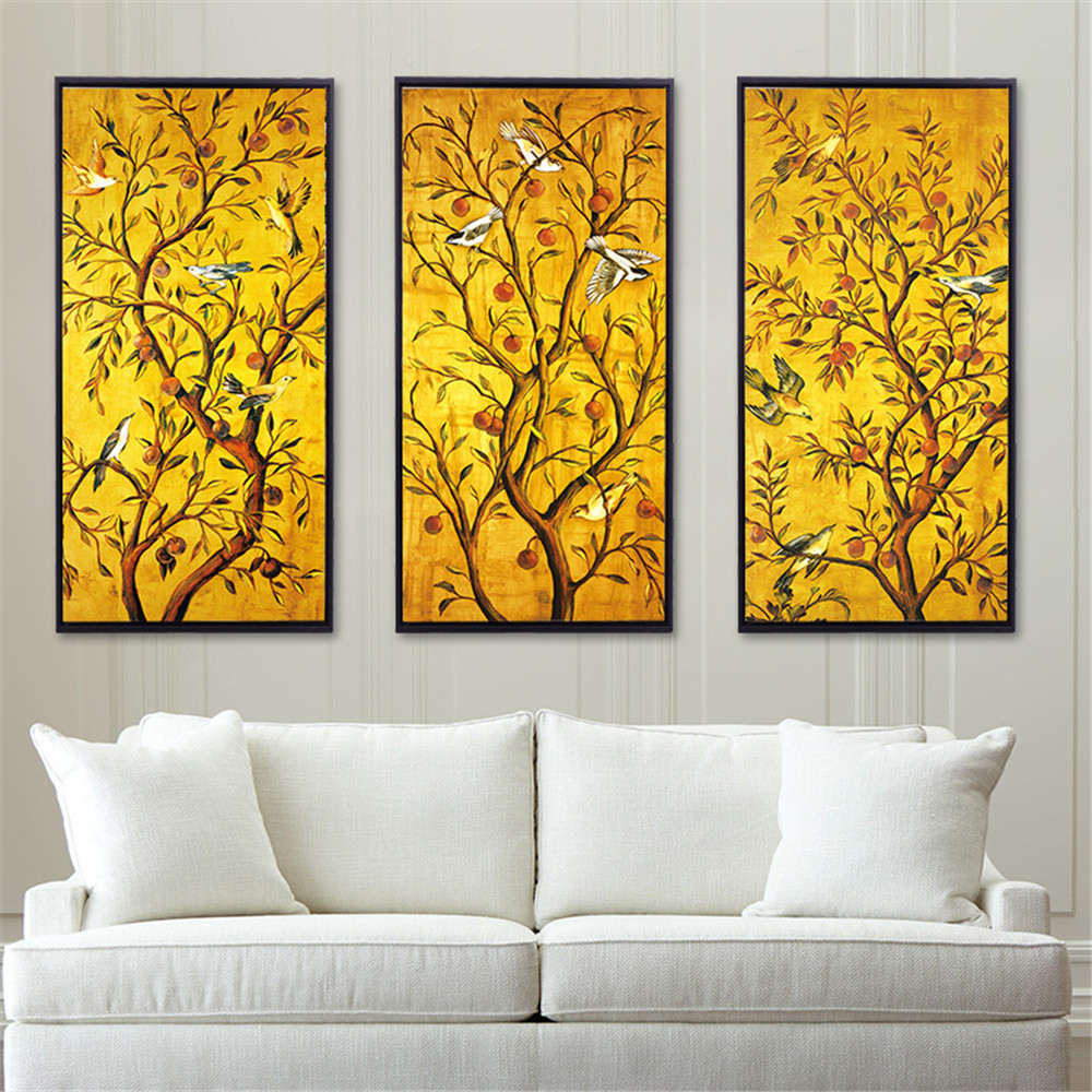 HAOCHU Branch Tree Natural Picture Canvas Painting Flower Bird Fruit ...