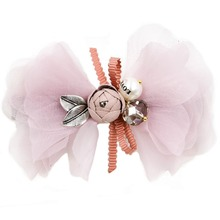 3.4 inches soft silk bowknot bud leaf design Barrettes fine hair clips claw for women and girls