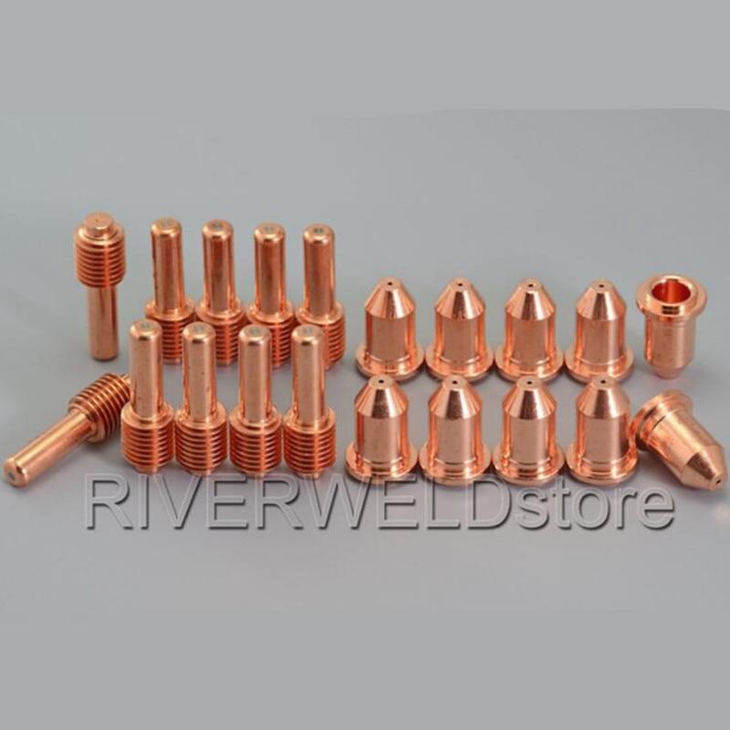 192048 Plasma Electrode Extended 35A & 192056 Plasma Tips Extended Nozzles Fit Miller ICE-40C 55C 55CM Plasma Cutter Torch 20pcs