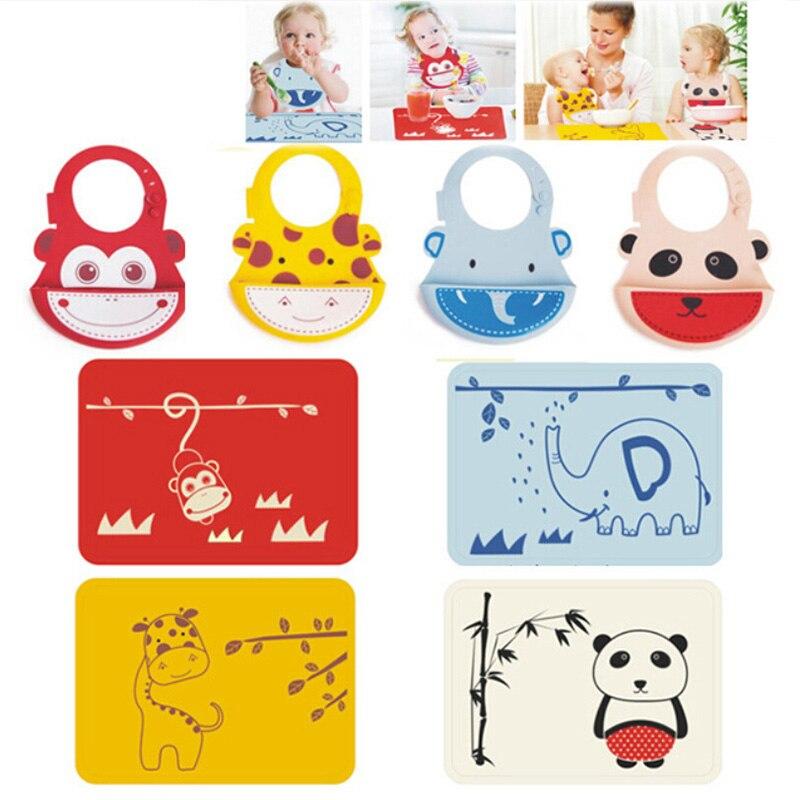 Sıcak satış Silikon placemat + bebek önlüğü Seti, Silikon hayvan Placemat Isıya Dayanıklı Mat silikon coaster bebek silikon önlükler BPA Ücretsiz