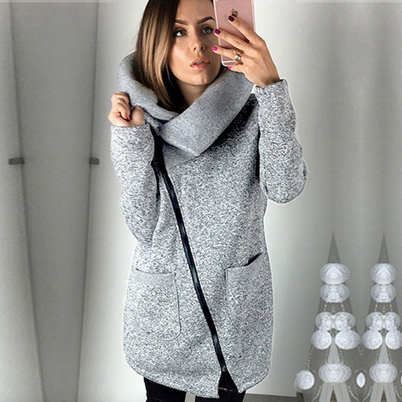2018 Women Spring Winter Plus Size 5XL Sudaderas Para Mujer Fleece Sweatshirt Hoodie Long Zipper Hoodies Jacket Coat Outwear