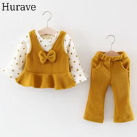 Hurave winter children's suits plus velvet thickening long-sleeved Sweater+trousers two sets of baby warm children's clothes