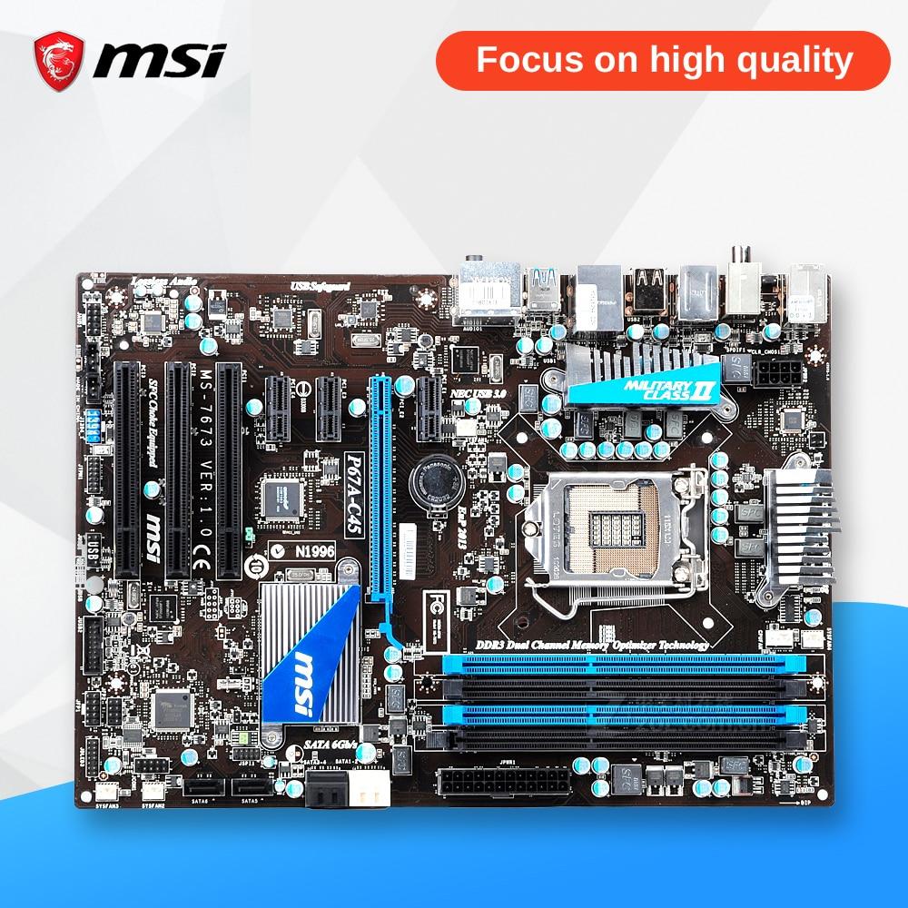 MSI P67A-C45 Original Used Desktop Motherboard P67 Socket LGA 1155 i3 i5 i7 DDR3 32G SATA3 USB3.0 ATX asrock h61m vg4 original used desktop motherboard h61 socket lga 1155 i3 i5 i7 ddr3 16g usb2 0 micro atx