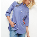 Women Autumn Blouse With Long Sleeved Tops Ladies Striped Blouses Embroidery Flower Shirt Casual Female Tops YZ8165
