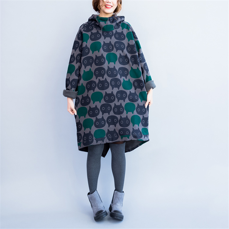AREALNA 2017 Autumn Winter vintage Dress women Casual Thicken Warm Cotton Print Cat dresses Loose Hooded