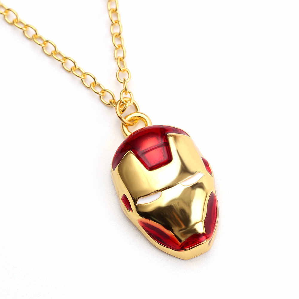 Hot Movie Iron Man Series The Avengers Iron Man Mask Helmet Pendant Necklace Trendy Jewelry For Fan Charm Souvenir Gift Farewell