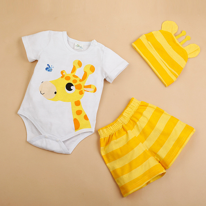 Newborn Baby Clothing Summer Boys Clothes Cartoon Short Sleeve Cotton 3PCS Baby Rompers Infant Costumes Girls Clothing Set