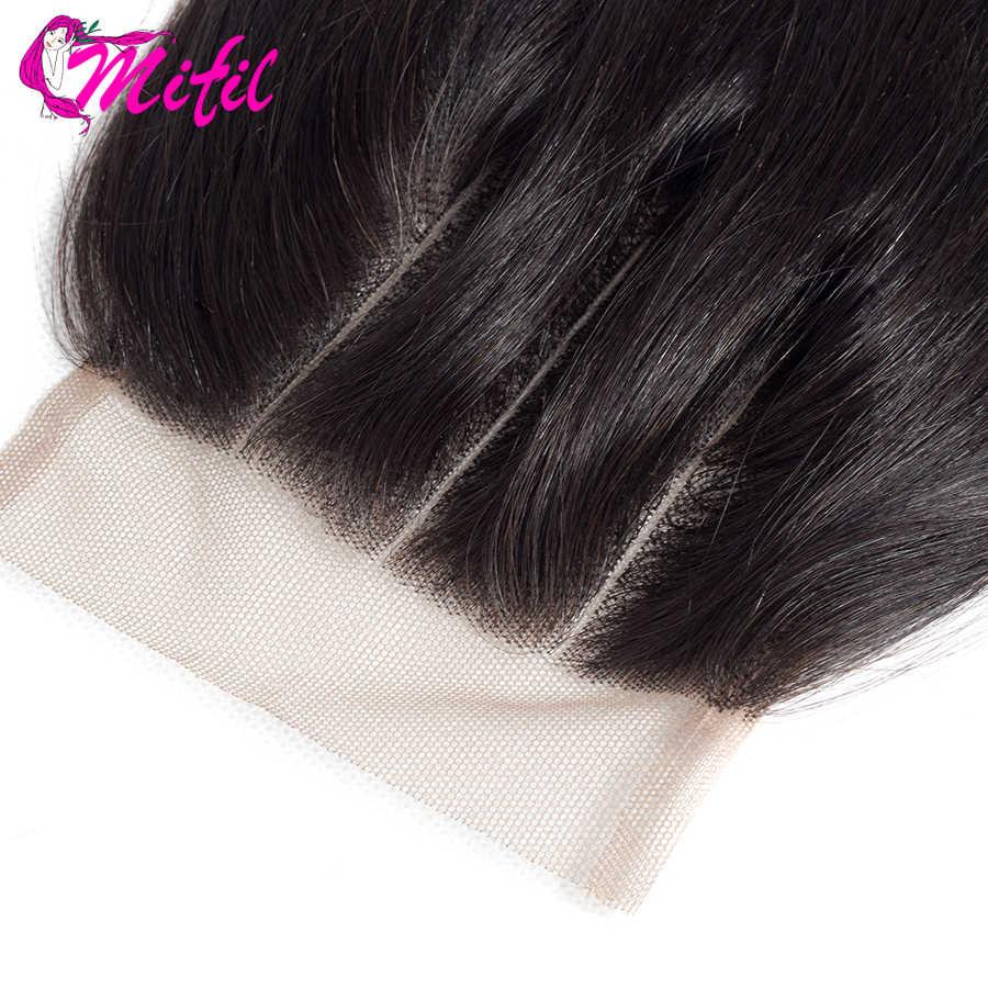 Mifil 4x4 бразильские волосы с закрытием 130% плотность 100% не Реми человеческие волосы закрытие бесплатно Средний три части прямые волосы закрытие