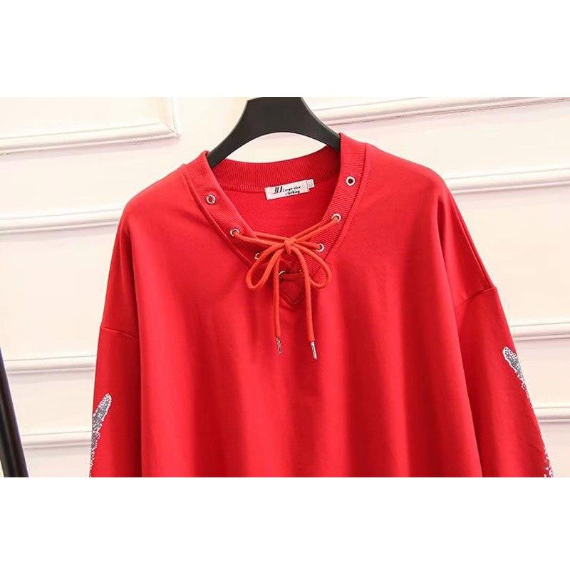 2019 Grande Taille Mode Printemps Sweat Nouvelle Augmentation de Femmes Moyen Long Bretelles Avec Flve branches Tops Dames shirts - 5