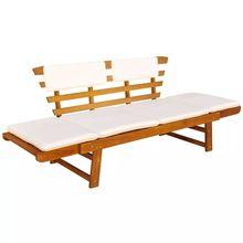 VidaXL Outdoor Sun Bed/Garden Bench Solid Acacia Wood