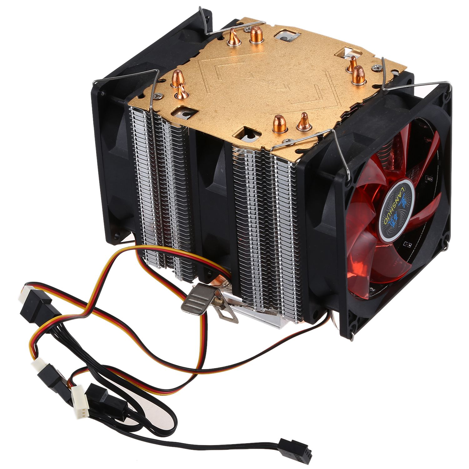 Lanshuo Pure Copper 2 Heat Pipe for 1366 1155 775 Intel//AMD Multi-Platform Mini CPU Radiator 4 Wire Without Light One Fans