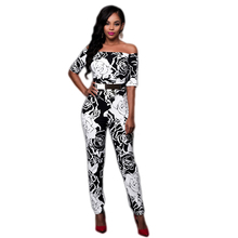 2016 Fashion Autumn bodysuit womens jumpsuit print Backless Formal rompers Easygocat