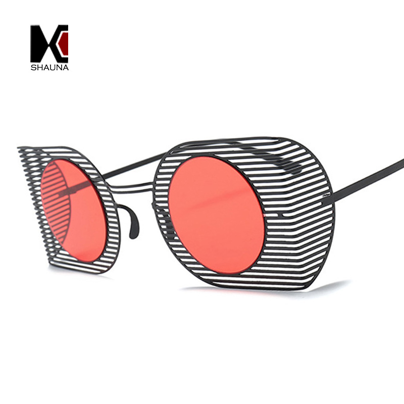 SHAUNA Ultralight Punk Style Women Goggle Sunglasses Fashion Hollow Out Frame Men Round Red Tinted Lens Glasses UV400