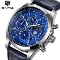 BENYAR Men Watch Waterproof Quartz Sport Watch For Men Blue Dial Business Watch Male Clock Hodinky