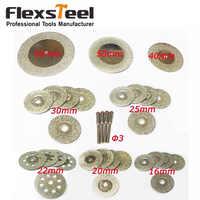 32 discos de corte de diamante Mini hoja de sierra de rueda 16/20/22/25/30/40 /50/60 MM rotativa Dremel herramientas de piedra de cristal + 4 piezas mandriles