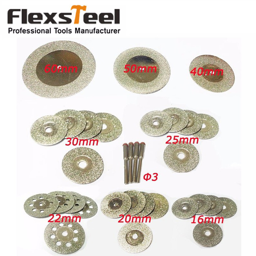 32 Pieces Diamond Cutting Discs Mini Wheel Saw Blade 16/20/22/25/30/40/50/60MM Dremel Rotary Tools For Glass Stone+4pcs Mandrels