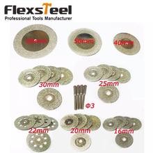 32 peças discos de corte diamante mini lâmina de serra de roda 16/20/22/25/30/40/50/60mm dremel ferramentas rotativas para pedra de vidro + 4 pces mandrels