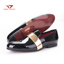 The new males loafers handmade sneakers patent leather-based black and gold design males sneakers, males's trend for weddings and occasion flats