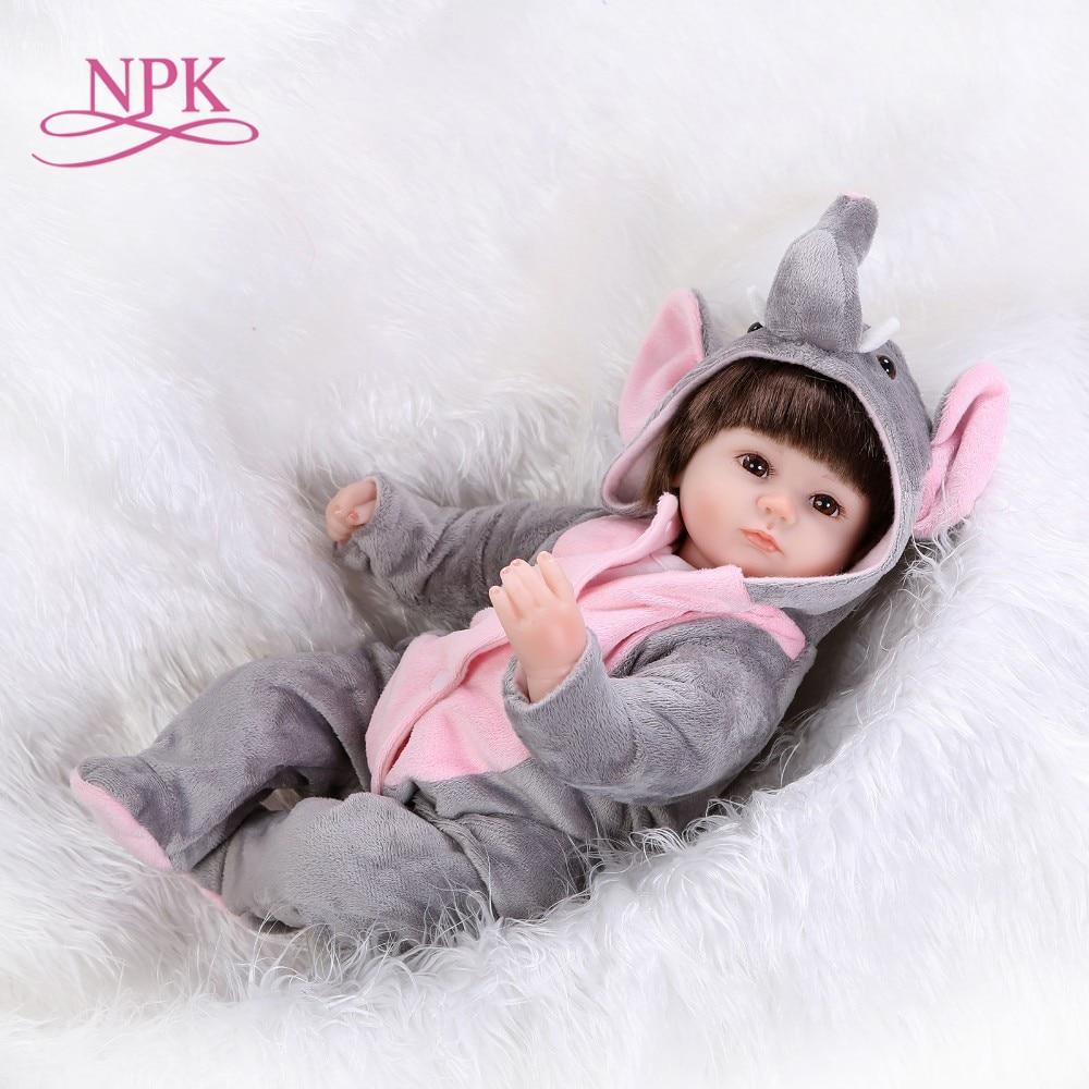 NPK Bebe Reborn Puppen de Silikon Mädchen Körper 43 cm elefanten adora Puppe Spielzeug Für Mädchen boneca Baby Bebe Puppe beste Geschenke spielzeug