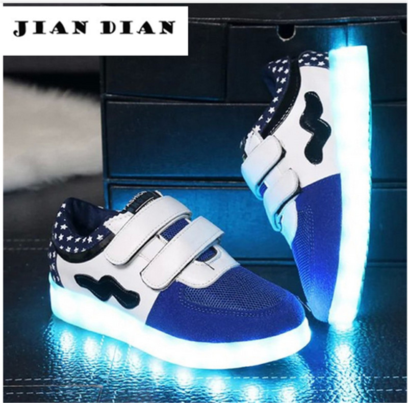 JIANDIAN Children's Light Up Shoes, Kids Boys LED Shoe Small Girls Fashion Luminous Glow Sneakers Child Flashing Cute Shoes 8 color led luminous shoes unisex glow shoe men women fashion lover tide leather recharge usb light shoes