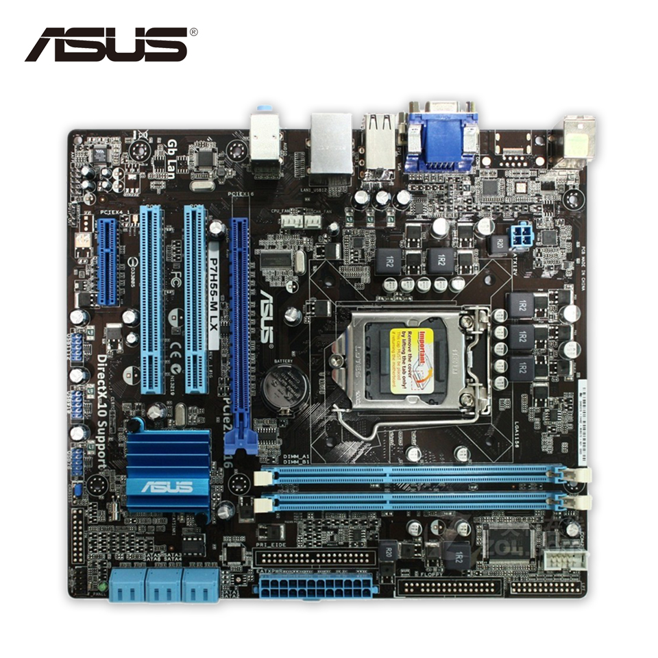 Asus P7H55-M LX Desktop Motherboard H55 Socket LGA 1156 i3 i5 i7 DDR3 uATX On Sale Second-hand High Quality original new desktop motherboard for asus p7h55 m usb3 h55 support socket lga 1156 i7 i5 i3 maximum ddr3 16gb sata2 2 usb3 uatx