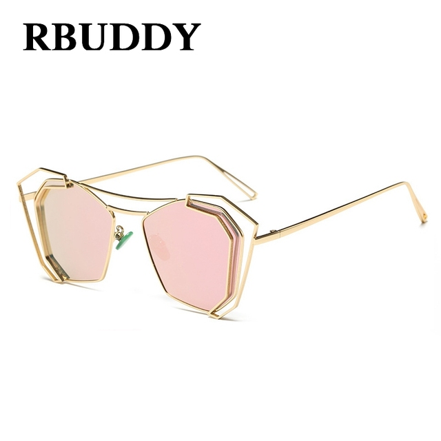 a0773ec70a RBUDDY Square Polarized sunglasses women Mirrored Gold Frame Pink Hollow  semi rimless Driving Driver s glasses men s glasses