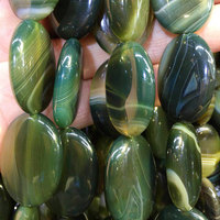 Free Shipping Fashion Jewelry 22x30mm Beautiful Olive Green Stripes Agate Oval Loose Beads 13pcs FG7206