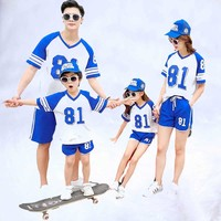 2019 Summer mother daughter father son family look 81 Blue Purple cotton T shirts & short pants 2pcs/sets Family outfits