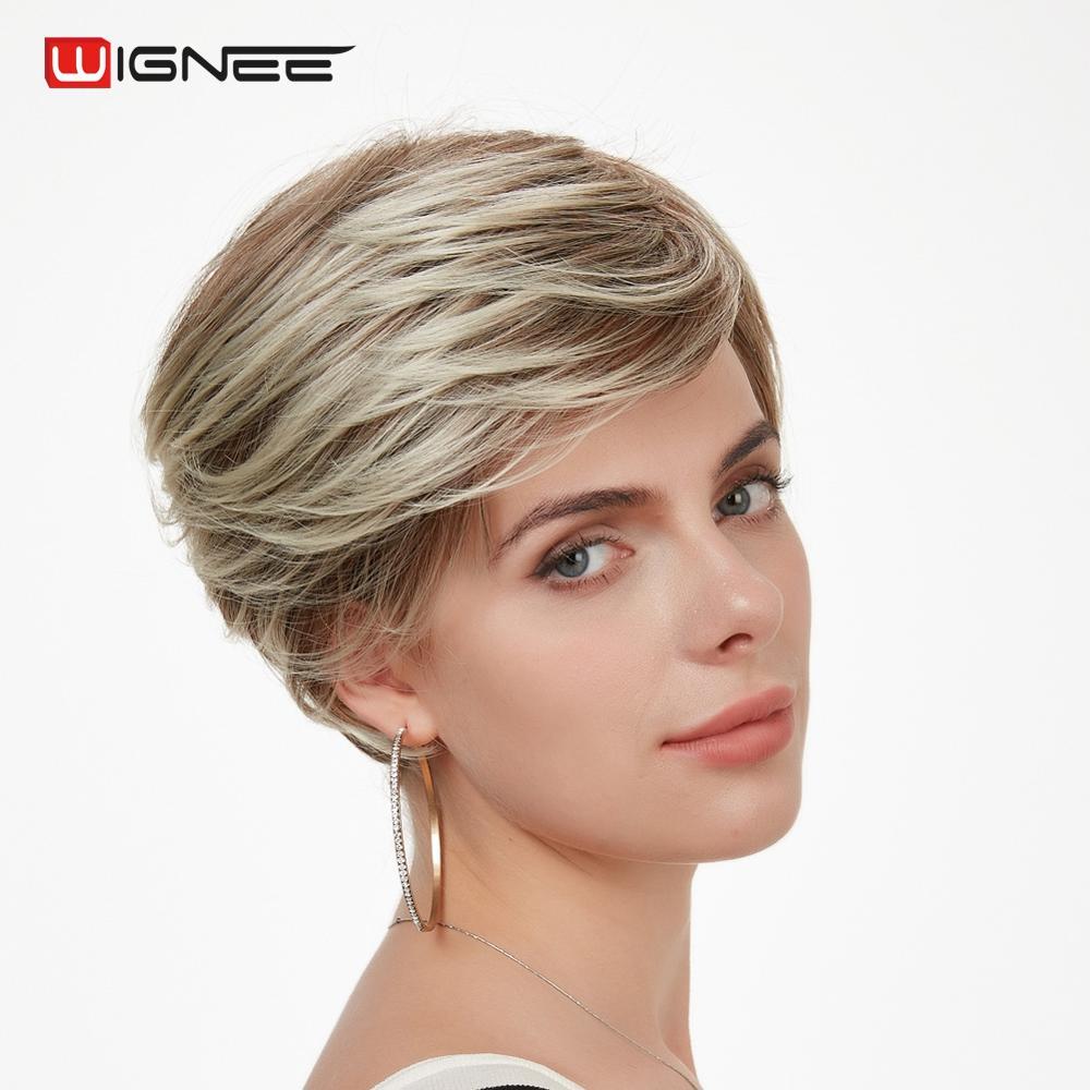Wignee Peruca Sintética Curto Para Preto/Branco Mulheres Resistente Ao Calor Marrom Misturado Cabelo Liso Cabelo Curto Americano Africano Completo perucas