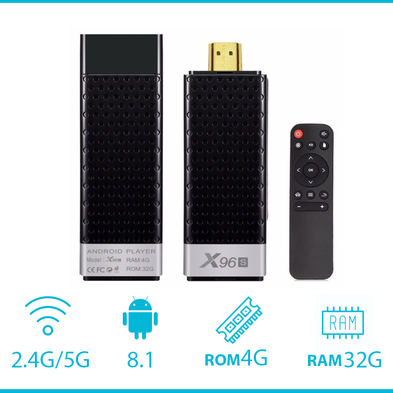 X96S Amlogic S905Y2 4GB 32 GB X96 Mini PC TV Stick 2,4 GHz 5G WiFi 1080P Bluetooth reproductor multimedia de Dongle de TV 4,2-in Decodificadores from Productos electrónicos    1