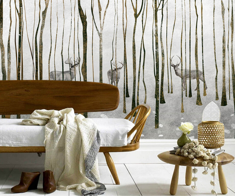 Custom 3d wallpaper. Retro minimalist backdrop painted elk forest tree mural, living room TV sof wall kids room papel de parede custom 3d photo wallpaper 3d stereoscopic green forest mural for living room bedroom tv backdrop waterproof papel de parede