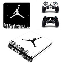 PS4 Slim Skin Sticker Air Man:Jordan Vinyl Decals Kit for Playstation 4 Console and 2 Controller Skins Full Cover Protective