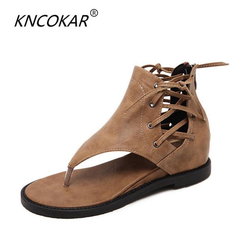KNCOKAR Comfortable New Summer Fashion Flat Black Womens Shoes High Help Herringbone Sandals x0308KNCOKAR Comfortable New Summer Fashion Flat Black Womens Shoes High Help Herringbone Sandals x0308
