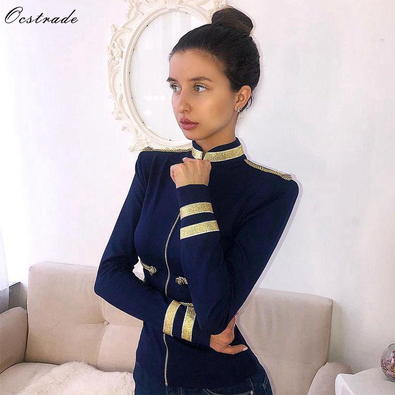 Ocstrade Outerwear Women Jackets Spring Autumn Coat 2019 New Navy Blue Elegant High Quality Long Sleeve Bandage Jacket Bodycon