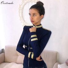 Ocstrade chaqueta ceñida de manga larga para mujer, chaqueta azul marino, elegante, para primavera y otoño, 2019
